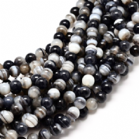 16 Inch Black Agate 4mm Round Beads
